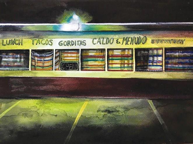 """""""Gorditas"""" is part of Fernandez's new exhibit of watercolors."""