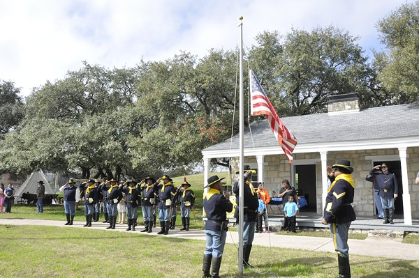 106 Buffalo Soldiers living historians raise the flag at the Institute of Texan Cultures Back 40 - COURTESY OF UTSA INSTITUTE OF TEXAN CULTURES