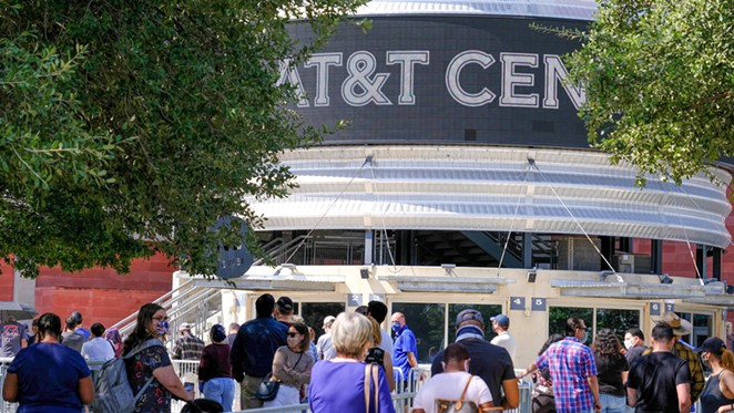 Voters flock to the AT&T Center on November 3. - TWITTER / AT&T CENTER