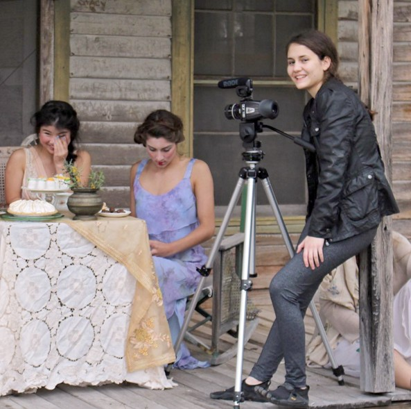Filmmaker Alexia Salingaros on the set of Lady of Paint Creek, one of her two films accepted this year for the SXSW Texas High School Shorts competition. - COURTESY