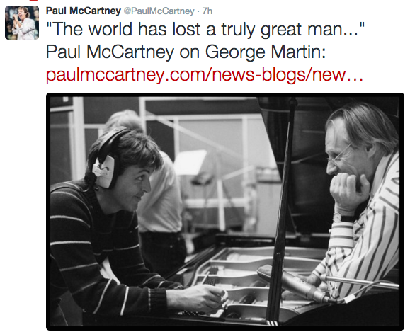 Paul McCartney's tweet regarding Martin's death. - TWITTER