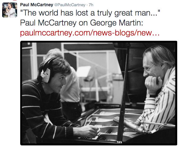 Paul McCartney's tweet regarding Martin's death. - TWITTER