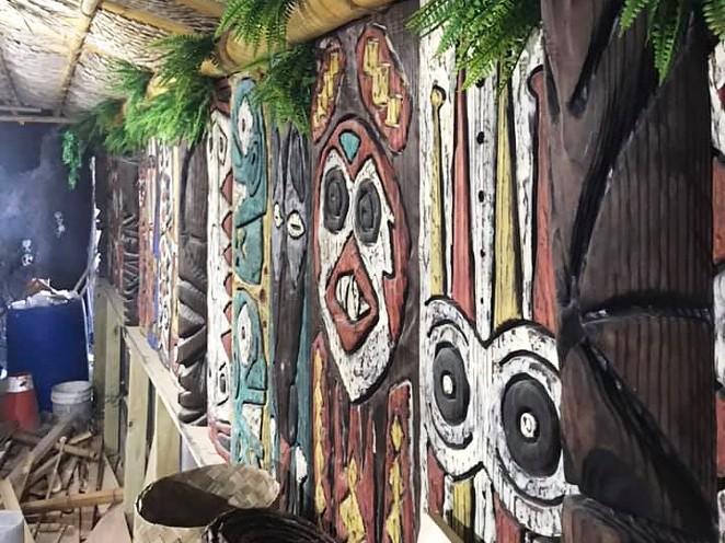 "This snapshot of the decor inside Hugman's Oasis was taken earlier this year while famed tiki designer ""Bamboo Ben"" Bassham was plying his trade. - COURTESY BAMBOO BEN BASSHAM"