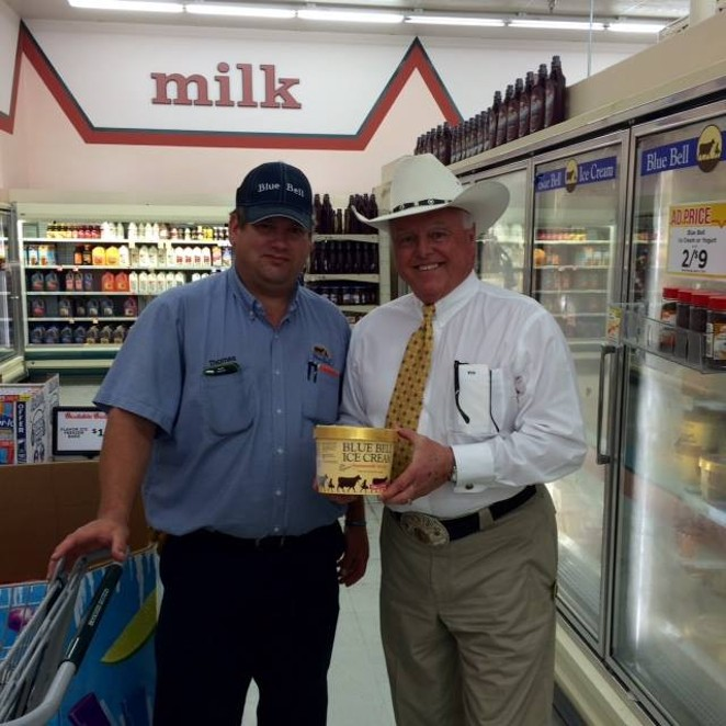 This is Texas Ag Commissioner Sid Miller posing with a non-Listeriosis plagued Blue Bell product. In one of his first acts, Miller deep fried Texas' junk food ban in schools. - TEXAS AG COMMISSIONER SID MILLER