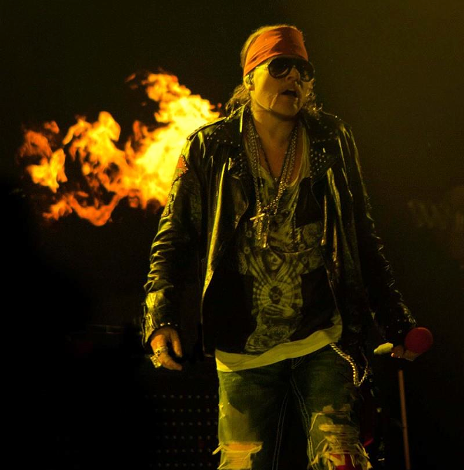 The always combustible Axl Rose, sans cornrows - FACEBOOK