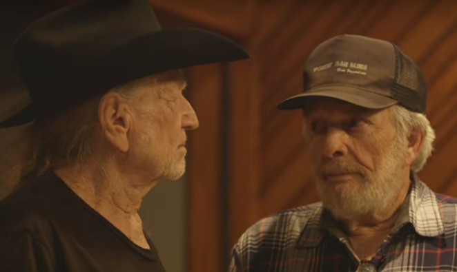"Willie Nelson and Merle Haggard in their recent video for ""It's All Going to Pot."" - YOUTUBE"