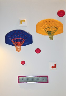 """Ethel Shipton's """"Chances 1,"""" """"Chances 2,"""" """"Choices"""" and """"R&R II"""" are sometimes too popular with fans who attempt to dunk on the upholstered b-ball backboards."""