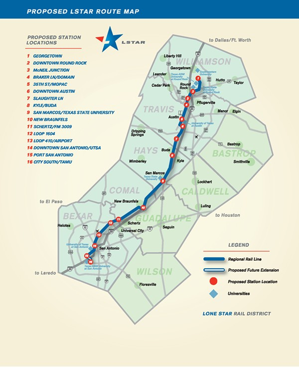 This map showed how a proposal with Union Pacific to build a passenger rail line between Austin and San Antonio would've worked. After UP said it wouldn't participate, many thought the project was dead. - COURTESY