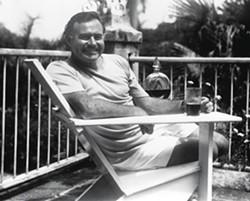 Ernest Hemingway at Finca Vigia in 1936.