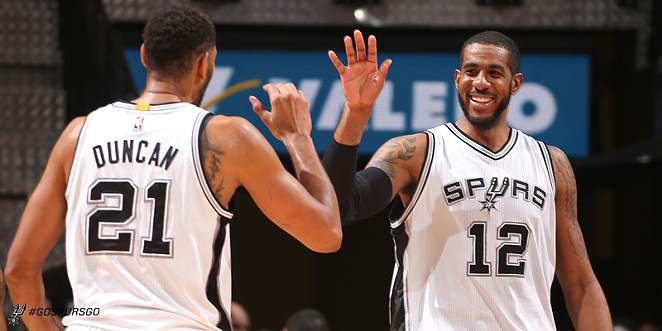 LaMarcus Aldridge still had a fantastic game, despite a bad call that prevented the Spurs from setting up a final play with seconds left. - SAN ANTONIO SPURS | FACEBOOK