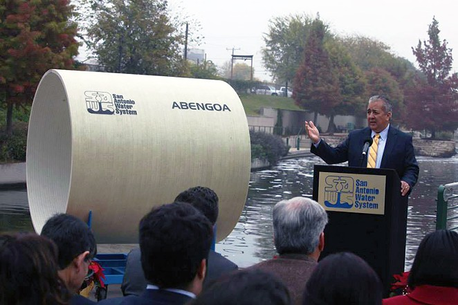 SAWS CEO Richard R. Puente launches the Vista Ridge Pipeline project in December 2014. - SAWS | FACEBOOK