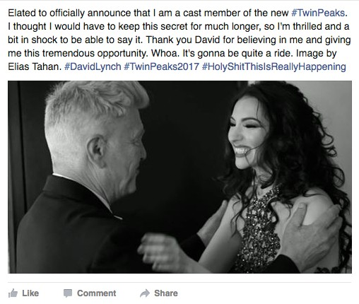The Facebook post announcing the casting of the singer and Lynch muse. That's the man, himself, on the left. - ELIAS TAHAN | FACEBOOK