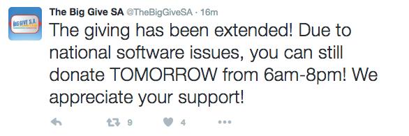 VIA TWITTER/THE BIG GIVE SA