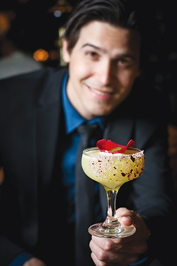 Jordan Corney and Patron's Margarita of the Year, The Rosa Picante - PHOTO BY DAVID RANGEL