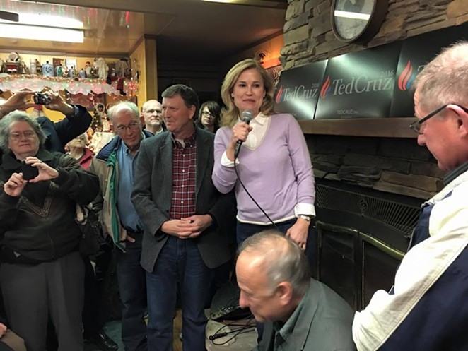 Heidi Cruz speaks at a campaign event in Strawberry Point, Iowa in January. - TED CRUZ | FACEBOOK