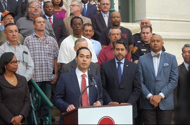Housing and Urban Development Secretary Julian Castro speaks at a press conference announcing the end of veteran homelessness in San Antonio. - MICHAEL MARKS