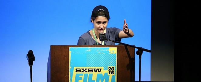 San Antonio filmmaker Alexia Salingaros accepting her Jury Award at the South by Southwest Film Festival this past March for her short Lady of Paint Creek. Her film was recently awarded the Best Experimental Film at the CineYouth Film Festival in Chicago. - NEILSON BARNARD