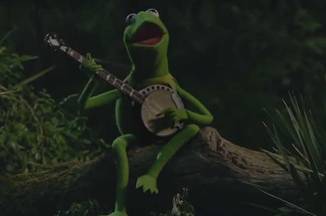 Kermit, pining for his former boo, Ms. Piggy. - YOUTUBE