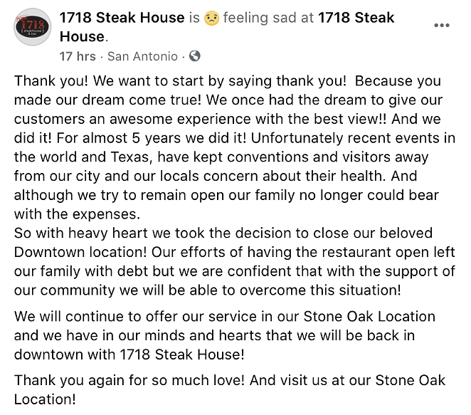FACEBOOK / 1718 STEAK HOUSE