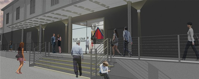 A rendering of Blue Star Contemporary's refreshed facade