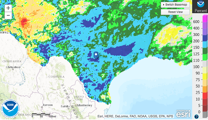 Map showing how much rain San Antonio has received relative to the average amount. - NATIONAL WEATHER SERVICE