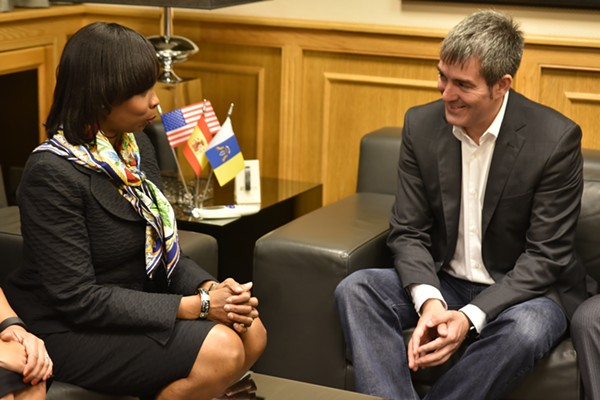 Mayor Ivy Taylor meets with Fernando Clavijo, president of the Canary Islands Council. - ACFI