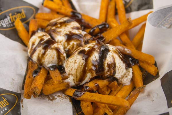 The French Connection — sweet potato fries topped with cinnamon, ice cream, chocolate drizzle - COURTESY