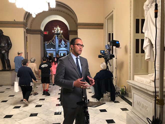 Will Hurd gives a television interview during his final term in Washington. - TWITTER / @HURDONTHEHILL