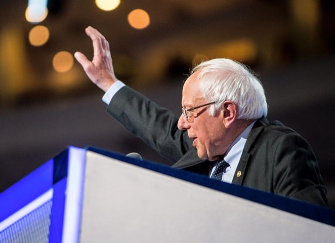 Senator Bernie Sanders voiced his support for Hillary Clinton during a speech Monday night at the Democratic National Convention in Philadelphia. - ERIN SCHAFF | DNCC