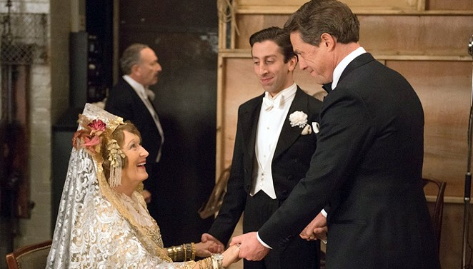 Meryl Streep, Simon Helberg and Hugh Grant share a scene in Florence Foster Jenkins. - COURTESY