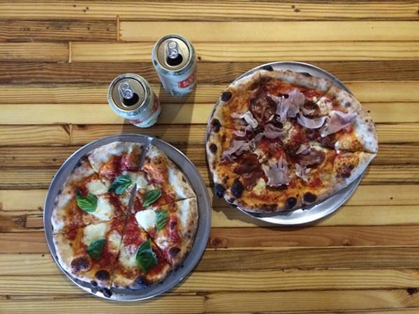 Il Forno's Margherita ($10) and Entero ($16) pizzas - MARK STENBERG
