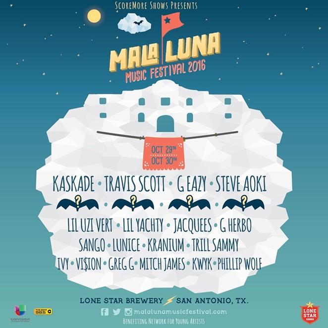 The updated Mala Luna Music Festival poster