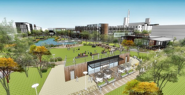 New construction in and around downtown has revived interest in the old Lone Star Brewery. Developers are now planning a $300 million project for the site. - RENDERINGS COURTESY OF AQUALAND DEVELOPMENT AND CBL & ASSOCIATES