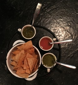 Salsa trio and seasoned chips - ERIN WINCH