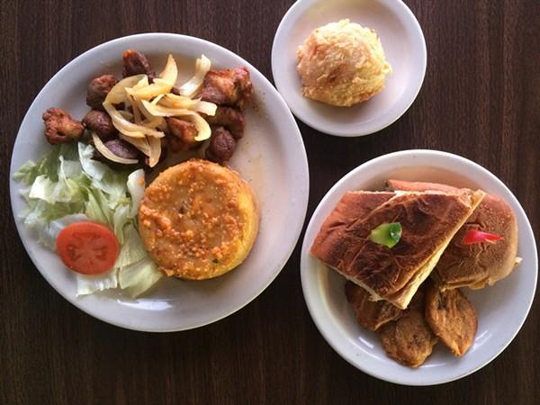 Clockwise L-R: Mofongo con carne frita, rellenos de papa, Cuban sandiwch