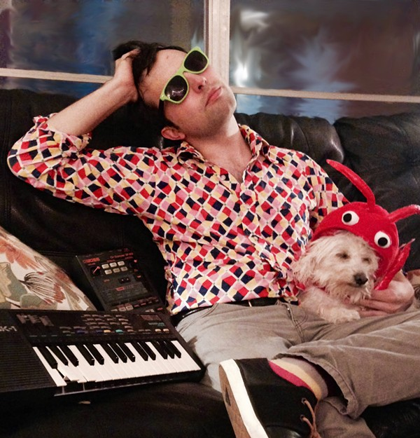 """MARCUS RUBIO AND HIS PRODUCER PIERRE THE """"LOBSTER"""" DOG PHOTOGRAPHED BY HANNA CAMPBELL"""