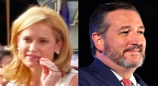 """Do you think I'd really want to see that chinless, dumpy moron on the beach with his shirt off?"" Heidi Cruz asked during a press event announcing her new travel agency. - WIKIMEDIA COMMONS / MAVERICKLITTLE (LEFT) AND GAGE SKIDMORE (RIGHT)"