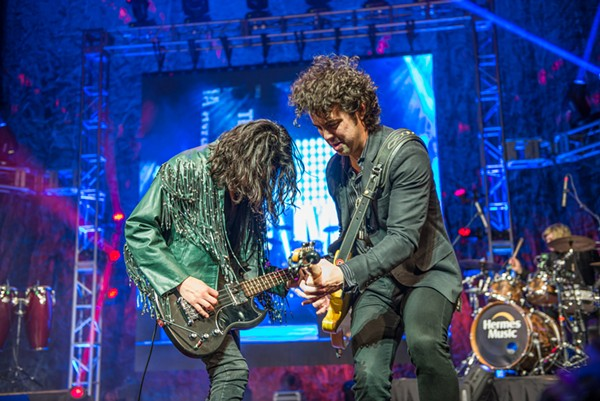The Last Bandoleros' Diego Navaira (left) and Jerry Fuentes during the Emilio tribute at the Tejano Music Awards Saturday at the Tobin. - JAIME MONZON