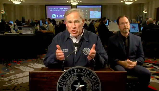 Gov. Greg Abbott lets his hands do the talking during his Wednesday prime-time address. - YOUTUBE SCREEN CAPTURE / GOV GREG ABBOTT