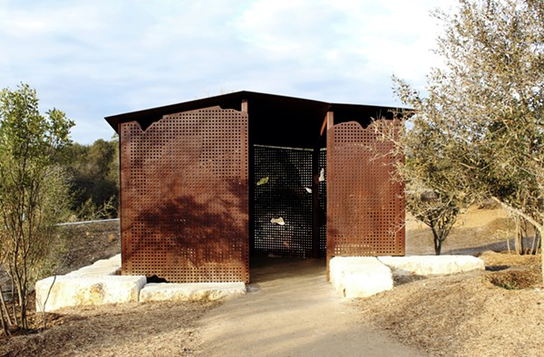 Bradshaw's blind features integrates both topography and San Antonio wildlife in its design. - EMILY SCHMALSTIEG