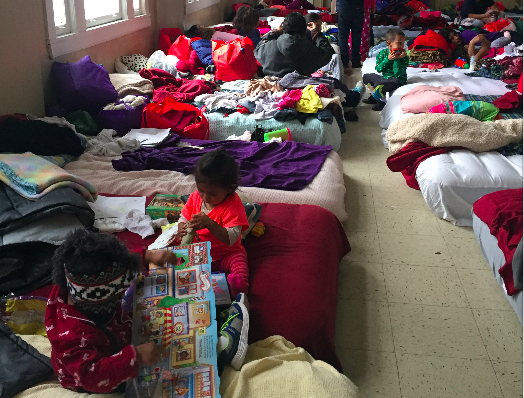 Hundreds of refugee women and children were sheltered at  San Antonio Mennonite Fellowship church last week - ALEX ZIELINSKI