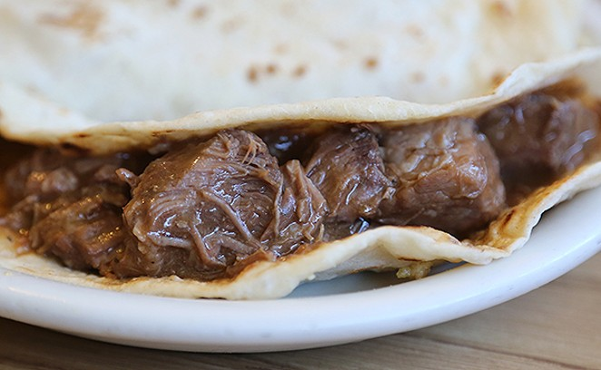 The carne guisada at Mi Celayence on Fredericksburg Road is exceptional. - BEN OLIVO