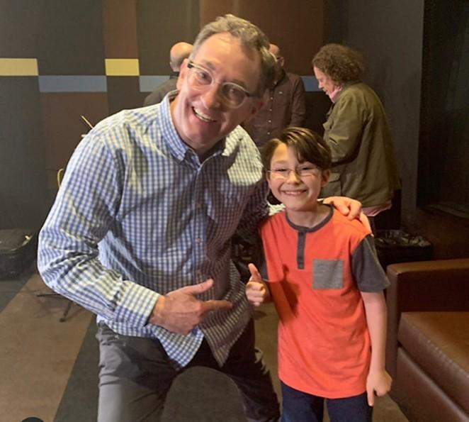 San Antonio native Antonio Raul Corbo (right) meets SpongeBob voice actor Tom Kenny. Kenny attended one of Corbo's recordings. - REGINA GARCIA CORBO