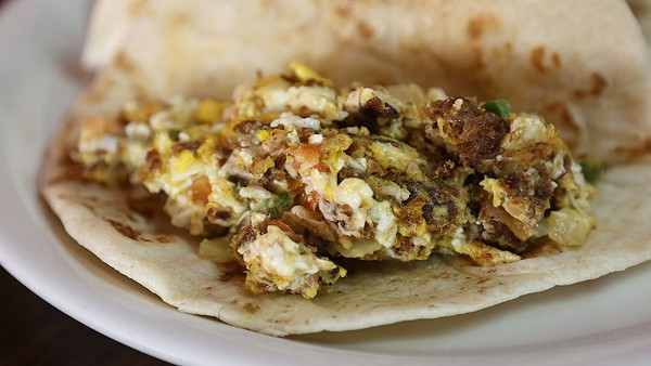 The machacado with egg at Los Arcos. - BEN OLIVO