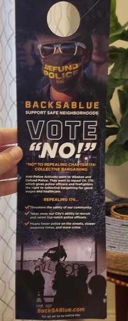 """This door hanger claims a change to the way San Antonio police bargain for benefits would create """"slower response times and more crime."""" - COURTESY OF FIX SAPD"""