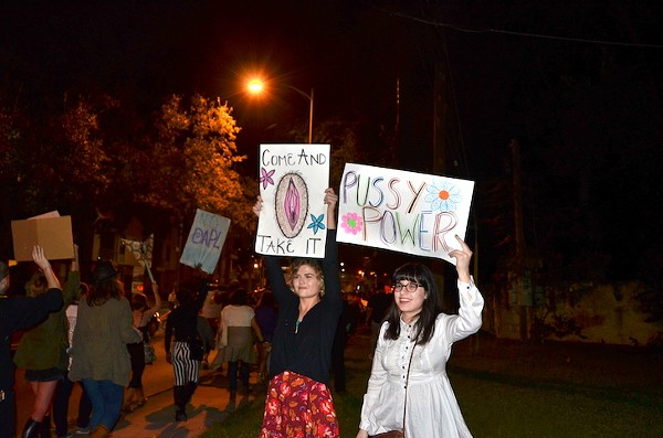 Women at San Antonio's anti-Trump march in November. - ALEJANDRA LOPEZ