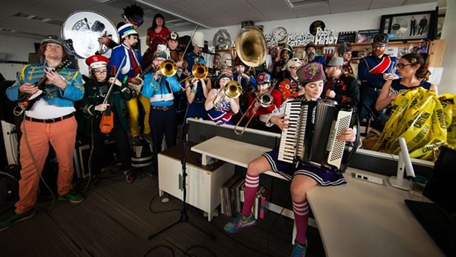 ONE OF NPR'S LARGER TINY DESK CONCERTS, MUCCA PAZZA/ YOUTUBE