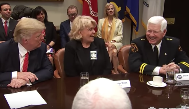 Sheriff Eavenson (right) laughs at President Trump's threat to fire a Texas senator Tuesday. - YOUTUBE.COM, YOUNEWS