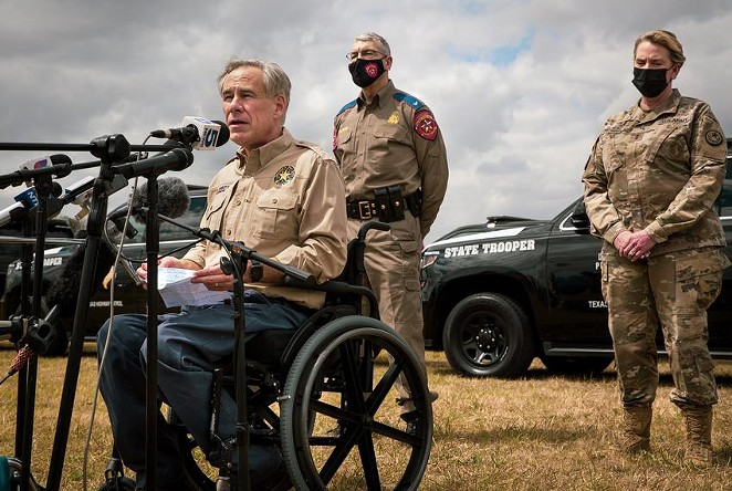Gov. Greg Abbott talks about border security at a news conference at Anzalduas Park in Mission on March 9, 2021. Abbott, who earlier this month reversed his own requirements for social distancing in public places and mask-wearing, followed that announcement with news conferences on the border and in Dallas. - JASON GARZA / THE TEXAS TRIBUNE