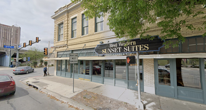 The Aiden Hotel will replace the existing Best Western Plus Sunset Suites Riverwalk at 1103 E Commerce St. - SCREENSHOT - GOOGLE STREET VIEW
